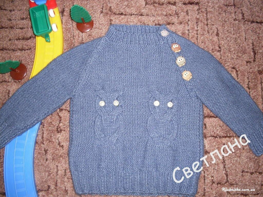 Вязание свитер с совой спицами 84